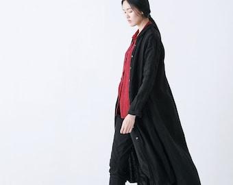 Black long linen jackets coats BonLife