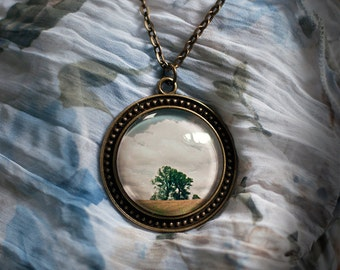 Romantic photography summer tree, Cabochon long necklace with pendant artist photography