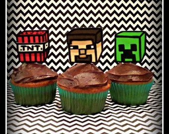 Minecraft Inspired Party Cupcake Toppers
