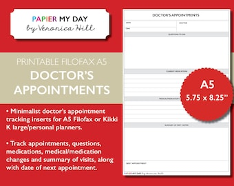 A5 Filofax Doctors Appointment Tracker - Printable Doctor's Appointment Inserts for Filofax and Kikki K planners