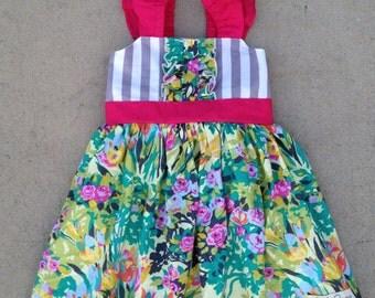 Vivienne floral girls' flutter sleeve dress