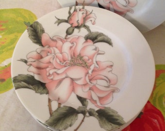 Beautiful Fitz and Floyd Dessert or Salad Plates in the Summer Rose Pattern.  Made in Japan