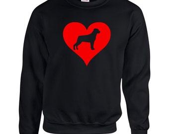 Love Heart Rottweiler  Sweatshirt .Crewneck Sweatshirt. Dog Breed Sweatshirts. Love Heart Sweatshirt.