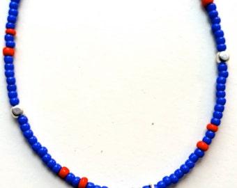 Bracelet - Cobalt blue and Red Seed bead giraffe