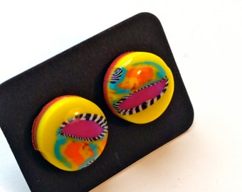 Stud Earrings - Abstract Polymer clay earrings