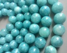 "Natural Blue Aquamarine Beads Round Polished Natural Semi-Precious Gemstones Bead 15"" Full Strand  6mm 8mm 10mm 12mm Optional Grade 5A T004"