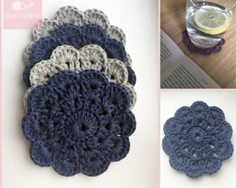 Shabby Chic Coasters - Set of 4 Cotton Coasters - (Grey/Denim)