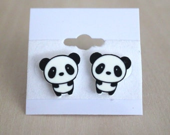 Kawaii Panda Chibi Stud Earrings