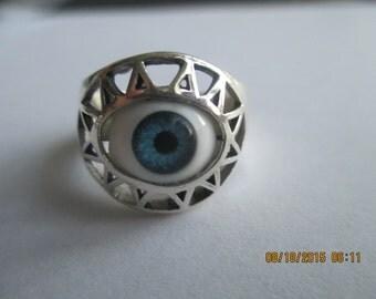 Greek Evil Eye Sterling Silver Ring..Great Look..New