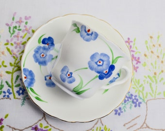 SALE SALE SALE 1930s hand painted china cup and saucer in pretty blues by colclough was 12.99 now 9.99