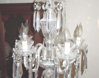 Waterford Crystal 5 Arm Chandlier Ceiling Fixture Light Lighting Lamp