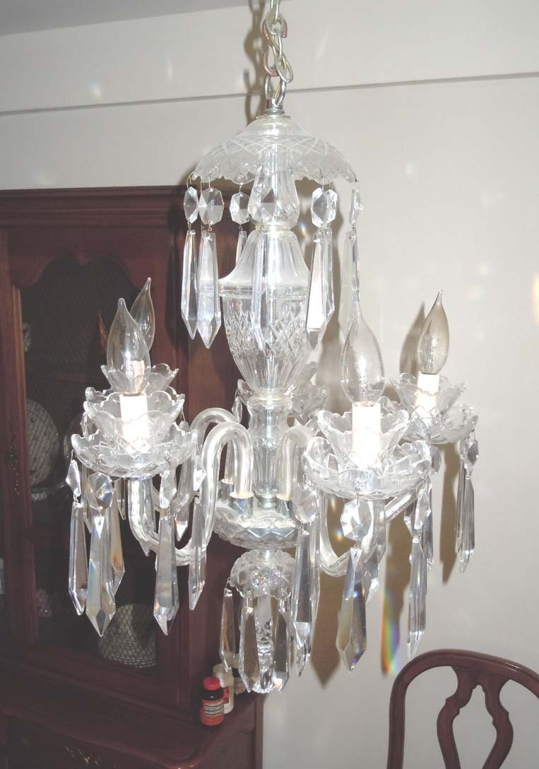 Waterford Crystal 5 Arm Chandelier Ceiling Fixture Light