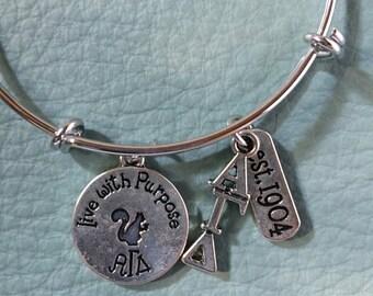 Alpha Gamma Delta Charm Bracelet,silver bangle with Lavalier, motto, established 1904, Lil Sis, pledge or senior gift,Sorority Alpha Gam AGD
