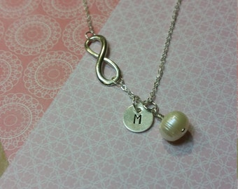 Personalized Sterling Silver Hand Stamped Initial and Infinity Necklace with Freshwater Pearl