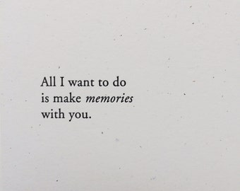 Make Memories with you - letterpress valentine card for her - galentines card - love card for him - Letterpress Cards by Of Note Stationers