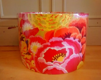 30cm Drum Lampshade made with gorgeous Kaffe Fassett Pink Orange yellow large floral cotton fabric