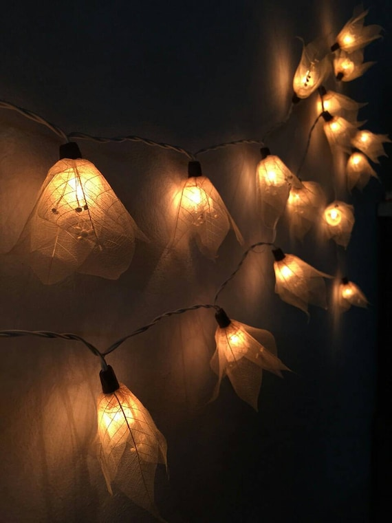 Wall String Lights For Bedroom: 20X White Flower Fairy String Lights Hanging By
