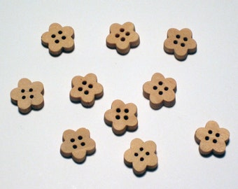 Set of 20 Wooden buttons flower shape, natural wood color. four (4) holes