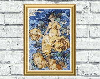 "Counted cross stitch pattern ""Rose Fairy""  (P128)"