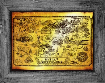Legend of Zelda Map of Hyrule Art Print Poster