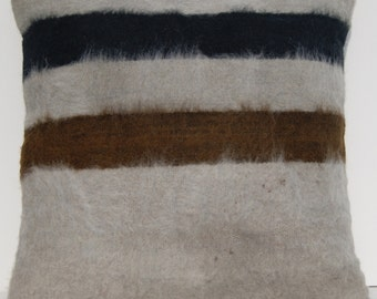 Vintage very soft pillow cover angora wool hand woven Turkish square rug 20""