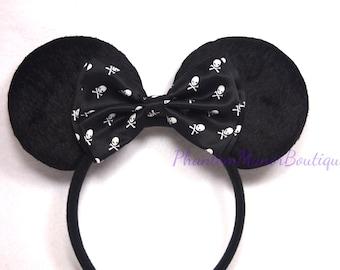 Minnie Mouse Ears - Skulls  Crossbone Bow Horror Headband Haunted Scary Cross Bones Mickey