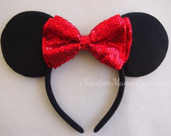 Minnie Mouse Ears - Sequins Red Bow Headband Wedding Mickey Disney Princess Bridesmaid Birthday Sequin Bling