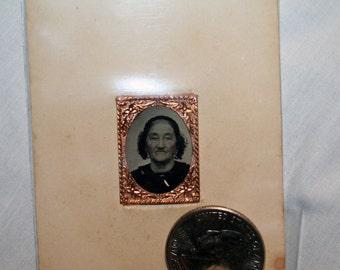 Gem Tintype of Elder Lady on CDV in Metal (brass color) frame - Bennitt of Bridgewater Conneticut - Collector Tintype - 1800's Tintype