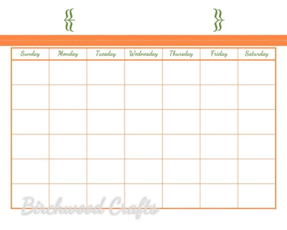 ... Monthly Calendar Template for Dry Erase Board 8x10 in Orange and Green