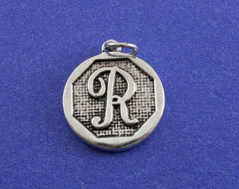 1 pcs-Initial R Charm, R Alphabet Pendant, Antiqued Silver Letter R Coin-As-K85350H-8S