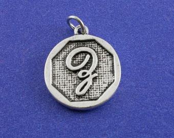 1 pcs-Initial Z Charm, Z Alphabet Pendant, Antiqued Silver Letter Z Coin-As-K85350H-8S