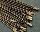"2"" Patina Queen Brass Paddle Headpins, 20 headpins, Hand Antiqued Solid Brass, Hand Antiqued Solid Brass, UK shop, brass findings"