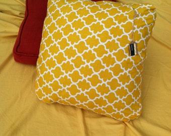 Ochre yellow and White Decorative Yogi Pillow
