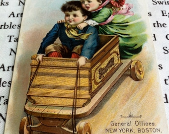Household Sewing Machine Victorian Trade Card, Children in Wagon