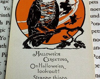 Vintage Halloween Post Card, Owl and Witches