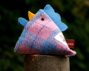 Tweedychook, Harris Tweed Chicken, Lavender, Desktop Companion, Paperweight, Friend.