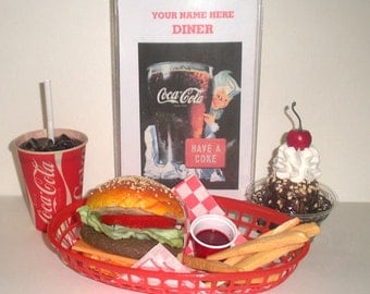 fake food coca cola lunch with personalized menu