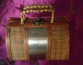 Wooden Purse Straw&Metal covered Unique and Interesting