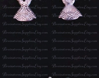 Dress Charm, Pretty Silver Dress on Hanger, Charm Pack of 5 or Save on 10.  Includes Jump Rings.