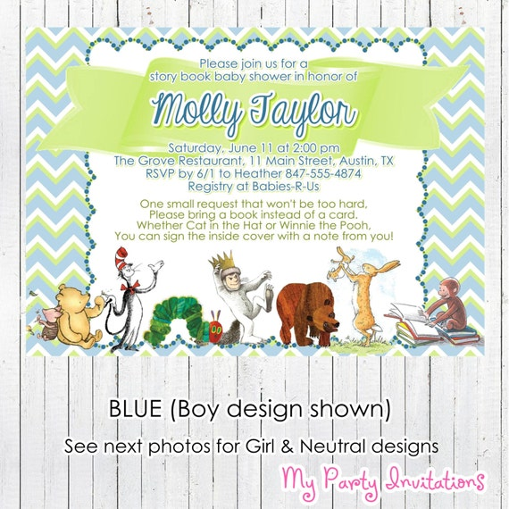 Story Book Baby Shower Invitation Printable By