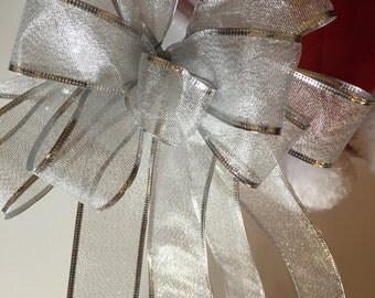 Silver Gift Bow, 25th Wedding Anniversary Bow, Holiday Bow
