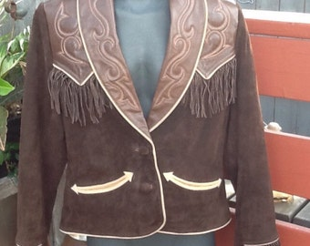 Western style suede and leather jacket