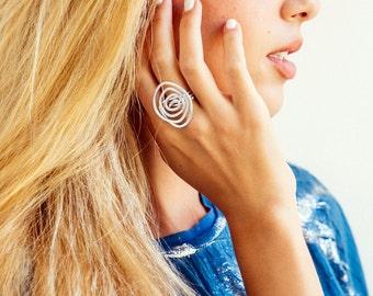 Statement ring, Silver ring, Spiral shape ring, Adjustable ring, Wrapped ring, Bridesmaid ring, Stylish ring, Fashion ring, Stylish ring.