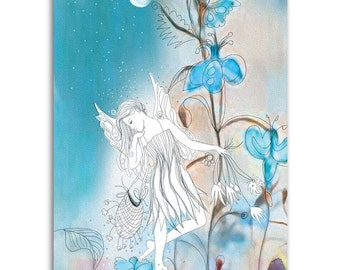 Midnight Moon Faerie, Note Cards - Set of four 5x7 note cards - painting and poem by Claire