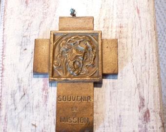 Vintage French bronze Cross Catholic Christian Religious French Vintage French Flea Market devotional