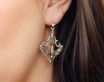Vintage French Bird Earrings, Bird Jewelry, Bird Lover Gift, Animal Earrings, Animal Jewelry, Swallow Earrings, Woodland Earrings E1171