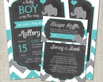 Elephant Baby Shower Invitation, Elephant Invitation, Elephant, Teal, Gray, Chevron, Flags | Printable
