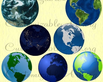 Globe Clipart Digital Globe Planet Earth Clip Art Images Blue Green Planet Earth Star Round Globe Scrapbook Planet Earth Printable Graphics