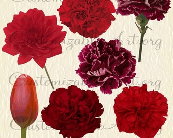 Red Flower Clipart Digital Red Flower Clip Art Images Burgundy Maroon Carnation Dahlia with Stem Tulip Clipart Single Wedding Flower Graphic