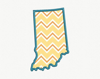 State of Indiana Applique Machine Embroidery Design - 5 Sizes